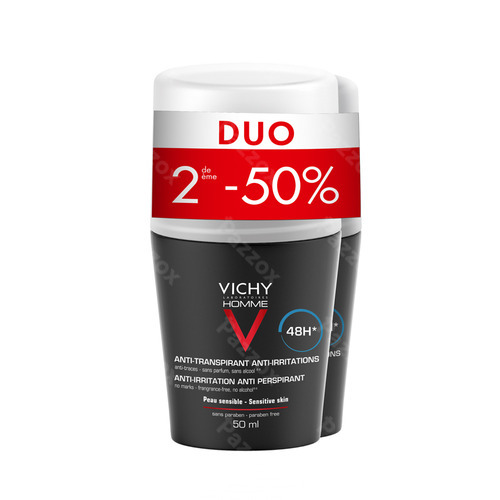 Vichy Homme Deo Gev Huid 48u Roller Duo 2x50ml