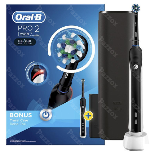 Oral B Pro 2500 Black Borstel Crossact+travel Case! Ideaal Als Geschenk