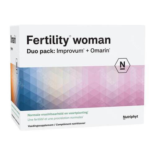Nutriphyt Fertility Vrouw Voedingssupplement Vruchtbaarheid Duo Pack Improvum + Omarin